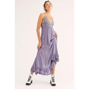 Free People Adella Maxi Slip Dress Lace Slate Boho